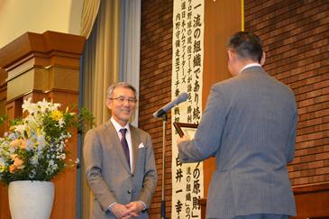 日本ハムファイターズ白井一幸コーチによる講演会の様子