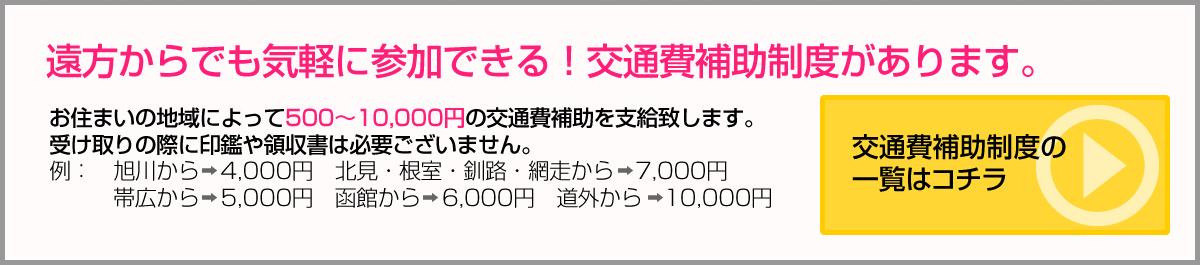 遠方からでも気軽に参加できる!交通費補助制度があります。お住まいの地域によって500〜10,000円の交通費補助を支給致します。交通費補助制度の受け取りの際に印鑑や領収書は必要ございません。例:旭川から→4,000円北見・根室・釧路・網走から→7,000円 帯広から→5,000円函館から→6,000円道外から→10,000円 一覧はコチラ